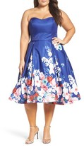 Mac Duggal Plus Size Women's Floral Strapless Cocktail Dress