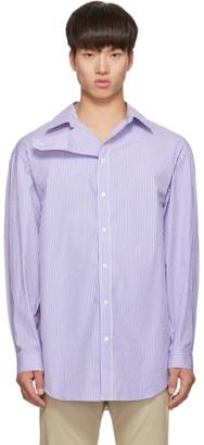 Balenciaga Blue and White College Stripe Shirt