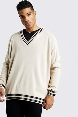 boohoo Oversized V Neck Tennis Raglan Jumper