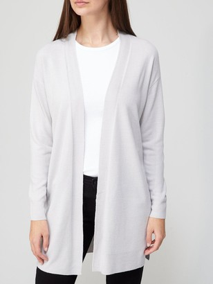 Very Super Soft Edge to Edge Longline Knitted Cardigan - Grey Marl