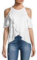 A.L.C. Anya Linen Cold-Shoulder Tee, White