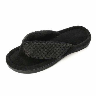 PENNYSUE Women's Comfy Flip Flops Indoor House Slippers with Memory Foam Thong Slippers Open Toe Non-Slip Sole Black
