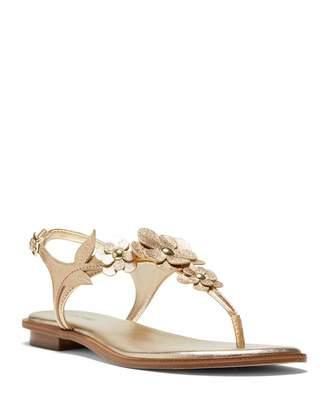 MICHAEL Michael Kors Flora Metallic 3D Flower Thong Sandals