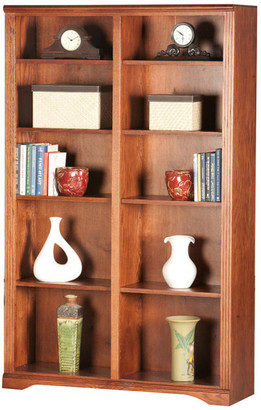 "Eagle Furniture Oak Ridge 72"" Tall, Double Wide Bookcase, Dark Oak"