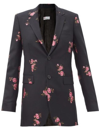 RED Valentino Floral-embroidered Wool-blend Twill Jacket - Black Multi