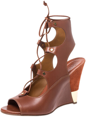 Chloé Brown Leather Eliza Ankle Wrap Wedge Sandals Size 40