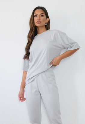 Missguided Petite Grey Oversized T Shirt And Joggers Co Ord Set