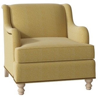 Hekman Bellini Armchair Body Fabric: 5576-232, Leg Color: Dove Grey, Nailhead Detail: Brass, Seat Cushion Fill: Standard