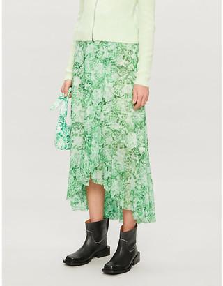 Ganni Floral-print woven midi skirt