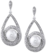 Effy Cultured Freshwater Pearl (7-1/2mm) and Diamond (3/4 ct. t.w.) Earrings in 14k White Gold