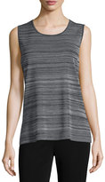 Misook Scoop-Neck Knit Tank, Neutral Gray/Black