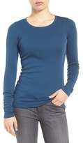Caslon Long Sleeve Scoop Neck Cotton Tee (Regular & Petite)
