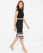 White House Black Market Mock Neck Stripe-Detail Sheath Dress