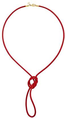 """Temple St. Clair 18K Yellow Gold Classic Red Leather Cord Necklace, 32"""""""