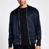 Mens River Island Navy stripe zip through regular fit shirt
