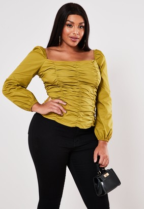 Missguided Plus Size Olive Poplin Ruched Square Neck Top