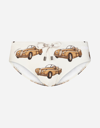 Dolce & Gabbana Swimming Briefs With Small Car Print