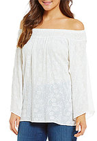 Bobeau Embroidered Off-The-Shoulder Woven Top