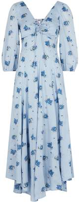 Free People Sea Glass Floral-print Cotton Midi Dress