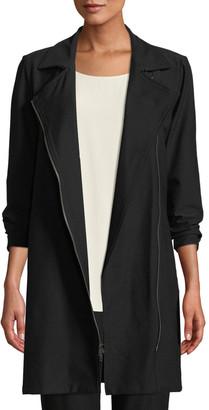 Eileen Fisher Plus Size Washable Stretch Crepe Moto Jacket
