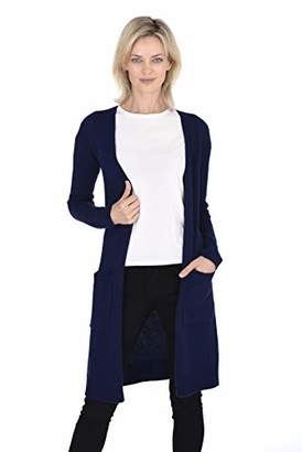 Cashmeren Mid-Length Open Cardigan 100% Cashmere Long Profile Sleeved Sweater for Women (