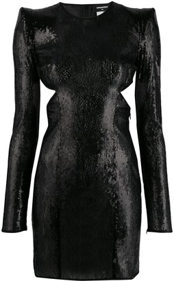 DSQUARED2 Sequinned Cocktail Dress With Peak Shoulders