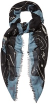 Valentino Panther-print cashmere and silk-blend scarf