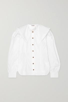 Ganni Ruffle-trimmed Cotton-poplin Blouse - White