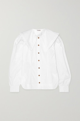 Ganni Ruffle-trimmed Cotton-poplin Blouse - White