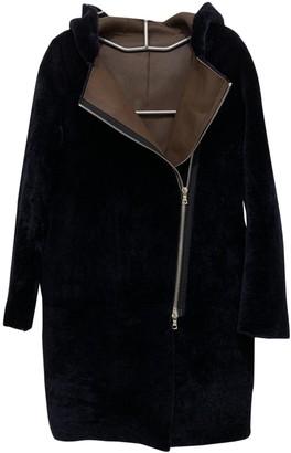 Sandro Navy Shearling Coat for Women