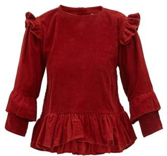 story. Mfg - Amla Ruffled Cotton-corduroy Top - Womens - Red Multi