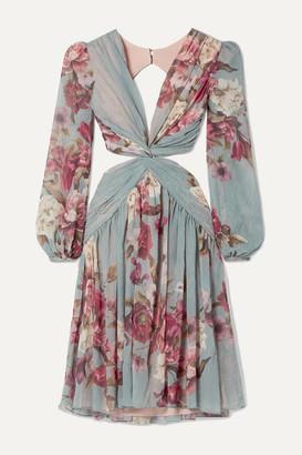 PatBO Cutout Twist-front Floral-print Georgette Dress - Sky blue