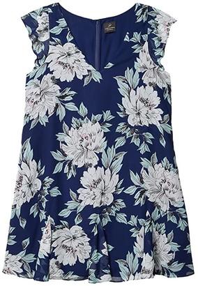 Adrianna Papell Floral Chiffon Goddet Shift Dress (Navy Multi) Women's Dress