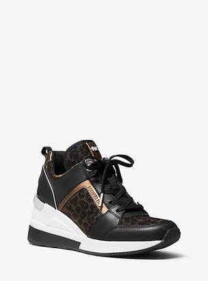 MICHAEL Michael Kors MK Georgie Leather and Leopard Glitter Mesh Trainer - Blk/bronze - Michael Kors