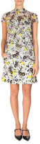 Erdem Arlesa Cap-Sleeve Tie-Back Top, Yellow/Blue