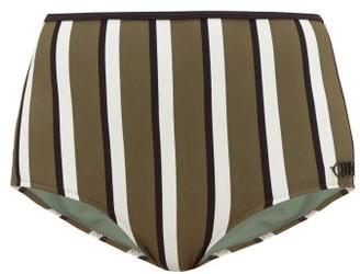 Solid & Striped The Brigitte Striped Bikini Briefs - Green Stripe