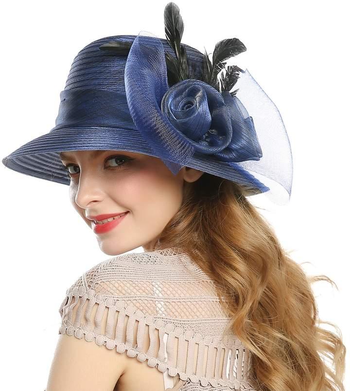 VIVICMW 100/% Wool Foldable Wide Brim Felt Bowler Fedora with Bowknot Hat Bucket hat