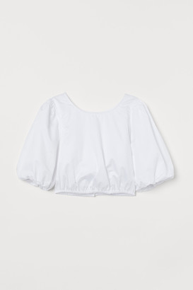 H&M Cotton Puff-sleeved Blouse