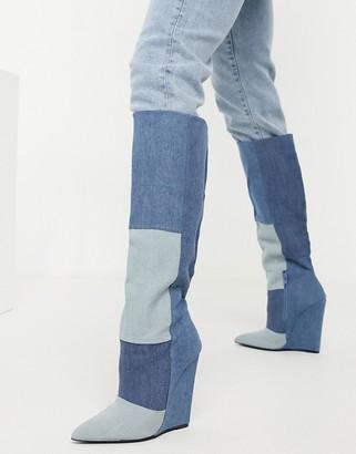 ASOS DESIGN Cody wedge heel knee boots in blue denim
