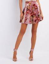 Charlotte Russe Floral Velvet Skater Skirt