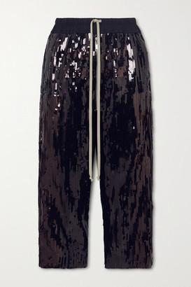 Rick Owens Bela Cropped Sequined Cotton Pants - Black