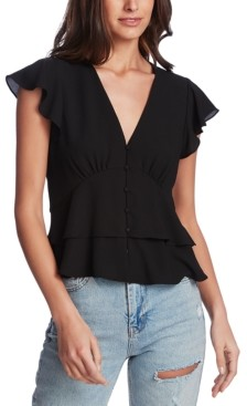 1 STATE Flutter-Sleeve Button-Front Blouse