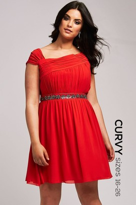 Little Mistress Curvy Orange Embellished Waist Prom Dress