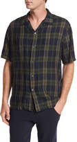Vince Plaid Short-Sleeve Cabana Shirt, Blue/Green