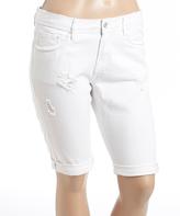 Dollhouse White Cuff-Hem Bermuda Shorts - Plus