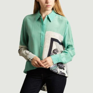 Essentiel Antwerp - Green Silk Patchwork Shirt - 36 | silk | green - Green/Green