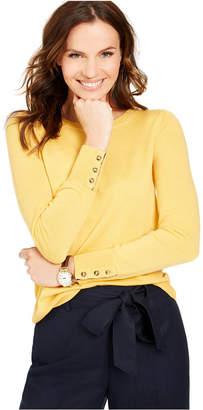 Charter Club Petite Button-Cuff Merino Wool Sweater