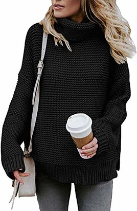 Dokotoo Womens Winter Turtleneck Chunky Knitted Jumper Long Sleeve Loose Sweater Pullover Tops Knitwear Black Size 10 12