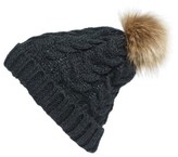 BP Women's Knit Beanie With Faux Fur Pompom - Black