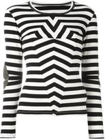 MM6 MAISON MARGIELA hypnotic stripes top - women - Cotton/Polyurethane/Spandex/Elastane/Viscose - S